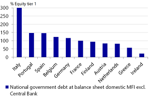 Figure 6: Italian MFIs have three times more government bonds than they have equity