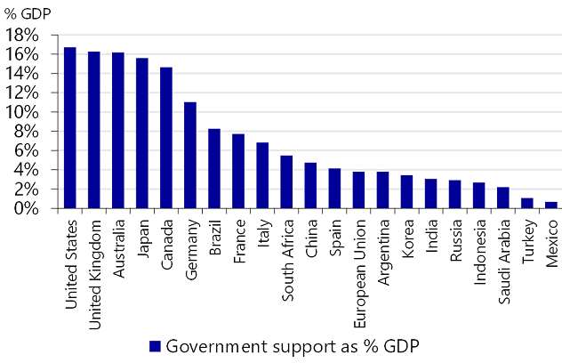 Figure 2: Government support in 2020 as percentage of GDP