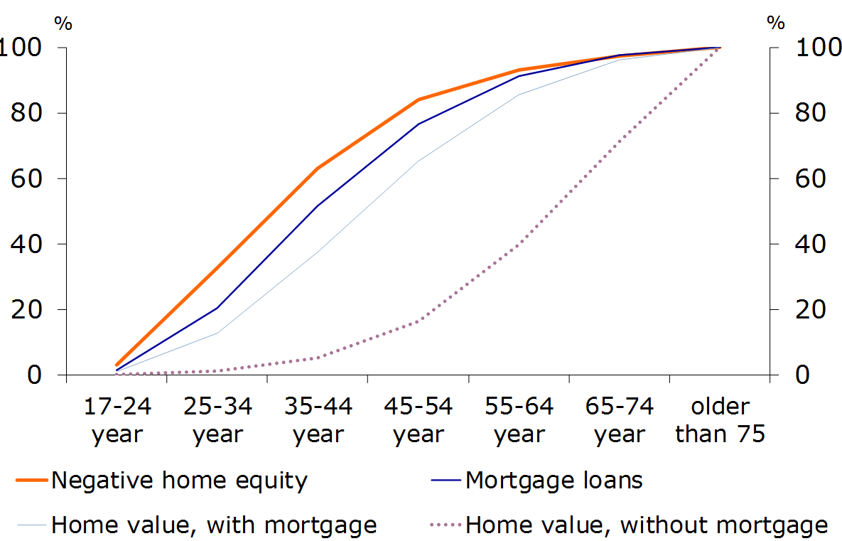 Figure 16: Relatively high debt among younger home-owners