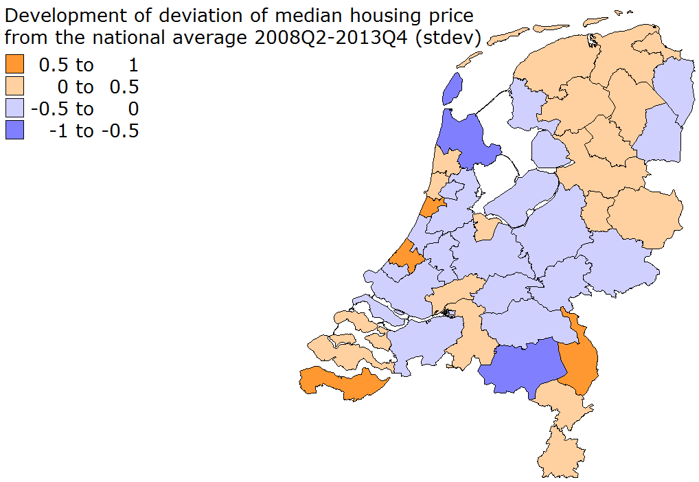 Figure 34: Deviation of house prices from the national average since the peak