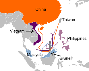 Figure 7: Territorial claims in the South China Sea