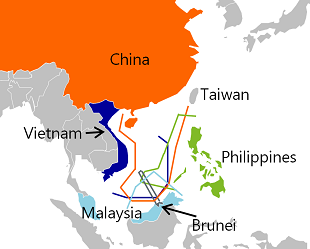 Figure 3: Overlapping territorial claims in the South China Sea
