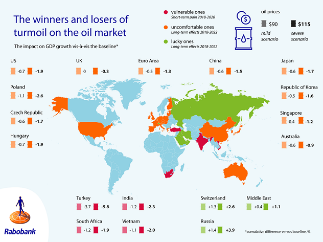 Figure 2: Winners and losers in case of an oil price shock